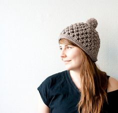 Crochet pom pom hat pattern easy and fast crohcet hat pattern by SofiaSobeidePatterns