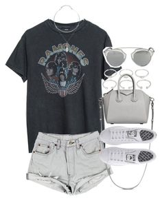 """""""Outfit for summer with a band tee"""" by ferned on Polyvore featuring Forever 21, Givenchy, adidas and Christian Dior"""