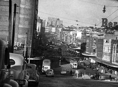 Looking east up William St,Sydney near the corner of College St in 1940.