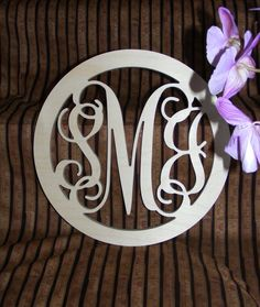 """24"""" Inch Large Wooden Vine Connected Monogram Letters with border, Unfinished,Unpainted. $29.75, via Etsy."""