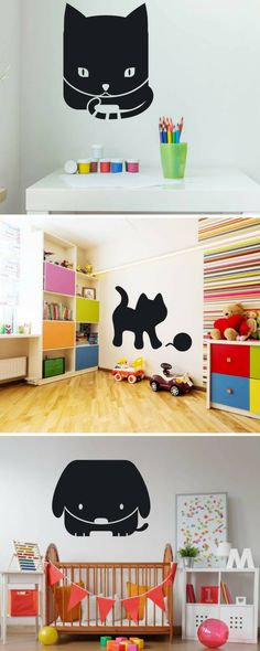 House with cat chalkboard Wally # creative Kidsroom, Toy Chest, Storage Chest, Chalkboard, Room Decor, Kids Rugs, Cat, Cabinet, Toys