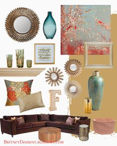 Living Room Style Ideas Home Interior Mood Board Home decor tan red blue teal coral brown gold bronze Coral Living Rooms, Living Room Decor Brown Couch, Living Room Turquoise, Living Room Decor Colors, Living Room Styles, Living Room Red, Living Room Paint, Brown And Gold Living Room, Bedroom Colors