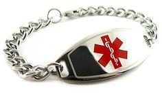 Black//White Millefiori Glass Pattern My Identity Doctor Pre-Engraved /& Customized Stroke Patient ID Bracelet White