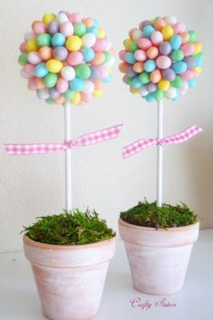 Jelly Bean Topiary:  Give your mantel or kitchen island some springtime flair with these easy-to-make, pastel pieces.