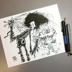 Edward Scissorhands. Original available in my store http://skottieyoungstore.bigcartel.com #sketch #dailysketch #timburton #ink #deskshot