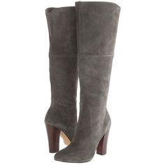 Betsey Johnson Dluxe Women's Zip Boots, Gray ($95) ❤ liked on Polyvore featuring shoes, boots, grey, grey high heel boots, almond toe boots, faux boots, side zipper boots and betsey johnson shoes