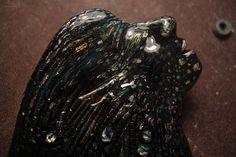 Mystic aquatic creature mermaid brooch ondine coal mermaid