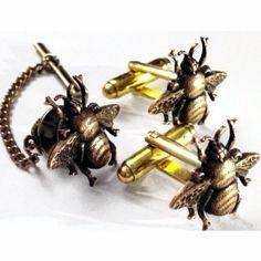 Men's Brass Bumblebee Cufflinks Tie Tack New by Lynx2Cuffs on Etsy, $35.99