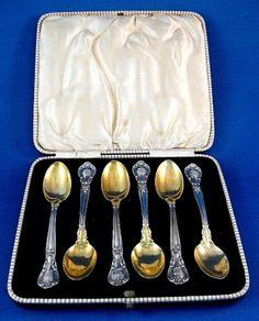 Sterling Silver Spoons Gorham Chantilly Demitasse Spoons Set Of 6 1930s Original Box Gold Wash