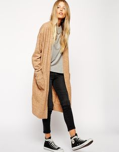 ASOS Longline Cardigan with Mohair:long cardigan Warm Outfits, Mode Outfits, Casual Outfits, Winter Outfits, Longline Cardigan, Long Cardigan, Cardigan Sweaters, Beige Cardigan, Cardigans