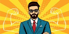 Hipster beard businessman with muscles pop art retro style. Strong Businessman in glasses in comic style. - Buy this stock illustration and explore similar illustrations at Adobe Stock Hipster Beard, Hipster Logo, Arte Pop, Fiesta Pop Art, Pop Art Vector, Pop Fashion, Retro Fashion, Desenho Pop Art, Floral Logo