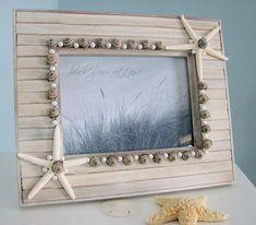 Beach Decor Seashell Frame - Nautical Barnwood Frame w White Starfish & Pearls, 5x7. $68.00, via Etsy.