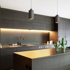 Pendent lamp in cylindrical shape for light sources. Each shade has its unique finish. Kitchen Lighting Design, Kitchen Lighting Fixtures, Modern Light Fixtures, Black Kitchen Cabinets, Black Kitchens, Cool Kitchens, Beton Design, Küchen Design, Modern Design