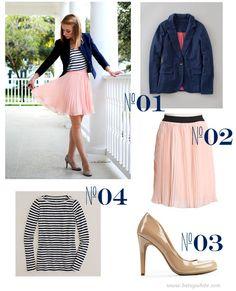 striped top, pleated chiffon high-waisted skirt, navy blazer and nude heels. love