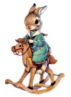 Bunny on a rocking horse Scrapbooking Image, Art D'ours, Lapin Art, Baby Animals, Cute Animals, Peter Rabbit Nursery, Bunny Painting, Rabbit Art, Rabbit Crafts