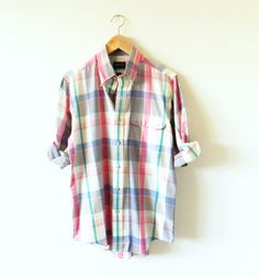 Rainbow Plaid Oxford Shirt / Mens Vintage Button Up / Preppy Madras Plaid in Soft Cotton by thehappyforest on Etsy