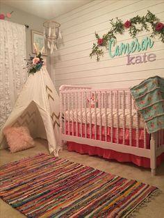 Baby girl nursery, tribal nursery, boho nursery, pink nursery, tee pee, ruffle curtains, floral nursery