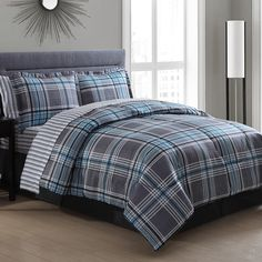 Chelsea Blue Plaid Bed in a Bag Comforter Set