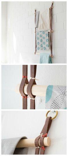 Handtuchhalter fürs Badezimmer selberbauen: Leiter für Handtücher bauen aus Leder und Holz / bathroom diy: handcrafted towel rail via DaWanda.com