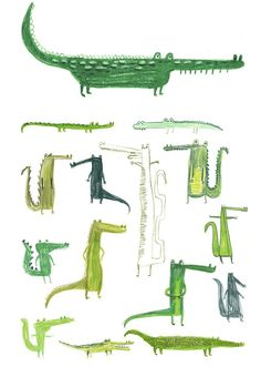 by Erica Salcedo. Theres just something inherently amusing about a cartoony crocodile -- a Peter Pan side effect, perhaps?Crocodiles by Erica Salcedo. Theres just something inherently amusing about a cartoony crocodile -- a Peter Pan side effect, perhaps? Art And Illustration, Illustrations Posters, Crocodile Illustration, Animal Illustrations, Motifs Animal, Grafik Design, Illustrators, Prints, Artwork
