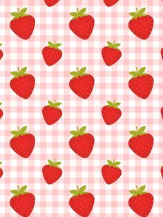 Pink canvas and strawberries vector seamless pattern.