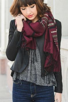 Jerome Geometric Tassel Scarf in Burgundy