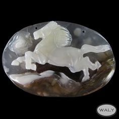 Carved XLarge Horse Mexican Agate Bead