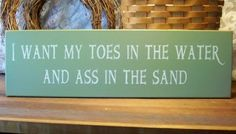 Toes in the Water Beach Sign Painted Wood | CountryWorkshop - Folk Art & Primitives on ArtFire