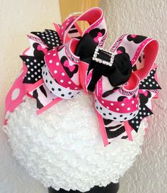 #CCC Minnie Mouse and Zebra Over The Top Boutique Hair Bow by PoshBabyStore.com