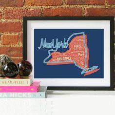 New York State Print New York Art New York Poster New York Print