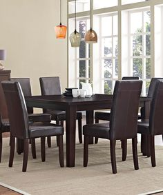 When looking for that perfect solution for your dining needs, you look for style, space and functionality. The Acadian 9 piece Dining Set meets your entertaining needs. The set is comprised of the Eastwood 54 in. Square Dining Table and 8 Ac Black Dining Set, 7 Piece Dining Set, Kitchen Dining Sets, Dining Room Sets, Kitchen Ideas, Dining Furniture, Dining Chairs, Furniture Ideas, Furniture Layout