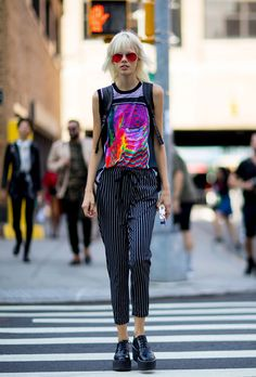 NYFW: The Best Street-Style, the Spring 2017 Shows, tank top, striped black pants, black platforms, sunglasses