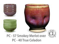 AMACO Potter's Choice layered glazes PC-40 True Celadon and PC-57 Smokey Merlot.
