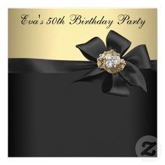Elegant Black And Gold 50th Birthday Party Invitation