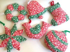 Vintage Fabric Christmas Ornaments Set of Six Bird by AntVillage
