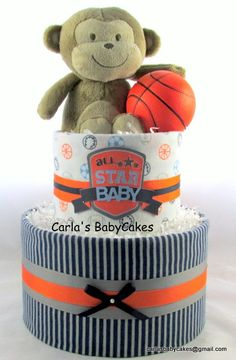 Boy diaper cake | Baby diaper cake | Sports diaper cake | Monkey diaper cake | Baby shower gift | Baby sprinkle gift | New mom gift by MsCarlasBabyCakes on Etsy