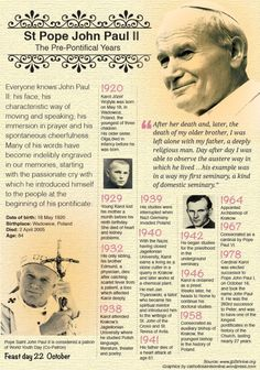Blessed and happy Memorial of St John Paul the Great – October 22 #pinterest #stjohnpaul No other Pope has encountered so many individuals: more than 16,700,000 pilgrims have participated in the General Audiences held on Wednesdays (more than 1,000). Such figure is without counting all other special audiences and religious ceremonies held [more than 8 million pilgrims during the Great Jubilee of the Year 2000 alone]....