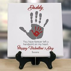 Show that special loved one that they have touched your heart with the gift of a personalized handprints on our hearts 8 x 8 table canvas. Personalized Valentine Gifts For Dad include Free customization. Shop thoughtful gifts, all personalized free for yo Valentine Gift For Dad, Valentine Crafts For Kids, Mothers Day Crafts For Kids, Fathers Day Crafts, Valentine Day Crafts, Baby Crafts, Toddler Crafts, Happy Valentines Day, Kids Crafts