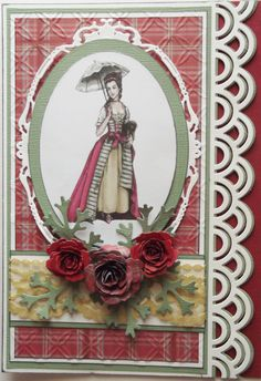One of my favourite cards, spellbinders border and oval dies, spiral flowers.  When the card is open you can see thru the border to the back of the card.