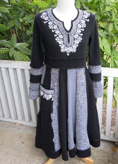 Recycled Sweater Dress Black White Embroidery by ThankfulRose, $100.00