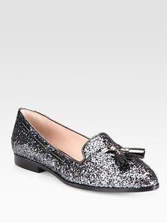 Miu Miu - Glitter Metallic Leather Smoking Slippers