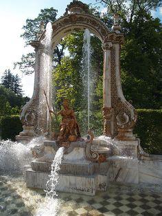 Fuente de Minerva, en los jardines del alacio Real de la Granja de San Idelfonso, Reales Sitios de España. Segovia, España.