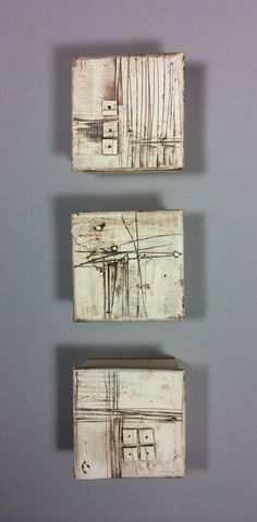 Marks and Texture by Lori Katz. Slab built stoneware with stoneware inlay, slip, underglaze, wire. Hangs simply on a picture hook from wire across wood backing. Picture hooks and easy to use hanging template included with purchase.