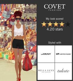 Covet Fashion - Rose Bowl Flea Market: Shoes = United Nude; Shorts = Bella Luxx; Top = Muguelina; Bag = Jasmine by ORyany; Bracelet = Dannijo Necklace = Stella Valle; Ring = Tuleste; Glasses = Coco and Breezy; Earrings = Dannijo;   --- Covet Fashion