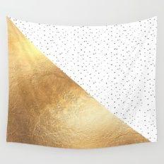 Gold and Polka Dots Wall Tapestry