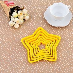Plast femtakket stjerne hjerte form cookie Mold sæt 6 Piece, 13x13x1.5cm (tilfældig farve)   – DKK kr. 22