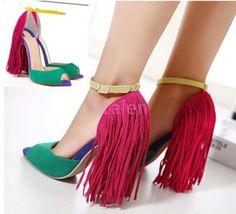 Womens Ladies Stilettos Suede Clubwear Shoes Tassel Fringe Sandal Shoes Open Toe