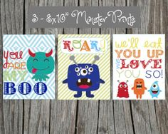 """3 Adorable Monster Art Prints - 8x10"""" size for child's room: little boy's nursery or bedroom. Cute Monsters"""