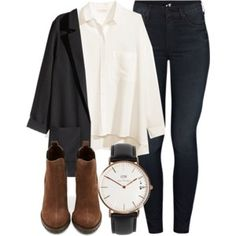 White shirt, black blazer, black skinny jeans, brown booties