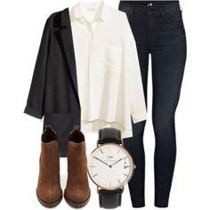 White shirt, black blazer, black skinny jeans, brown booties